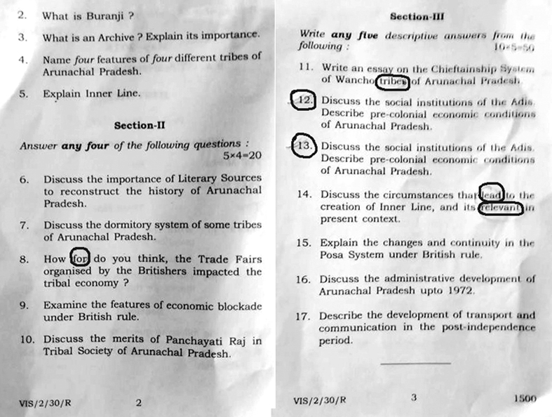 Glaring errors in RGU's BA question paper | The Arunachal Times